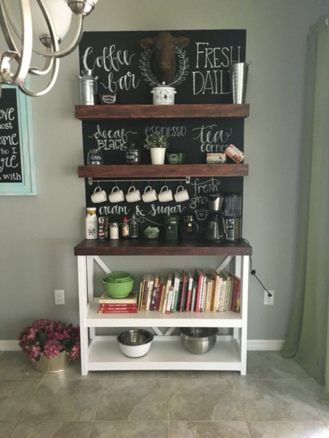 Coffee bar and cookbook nook