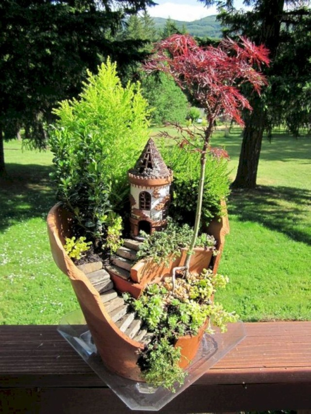 Diy broken clay pot fairy gardens