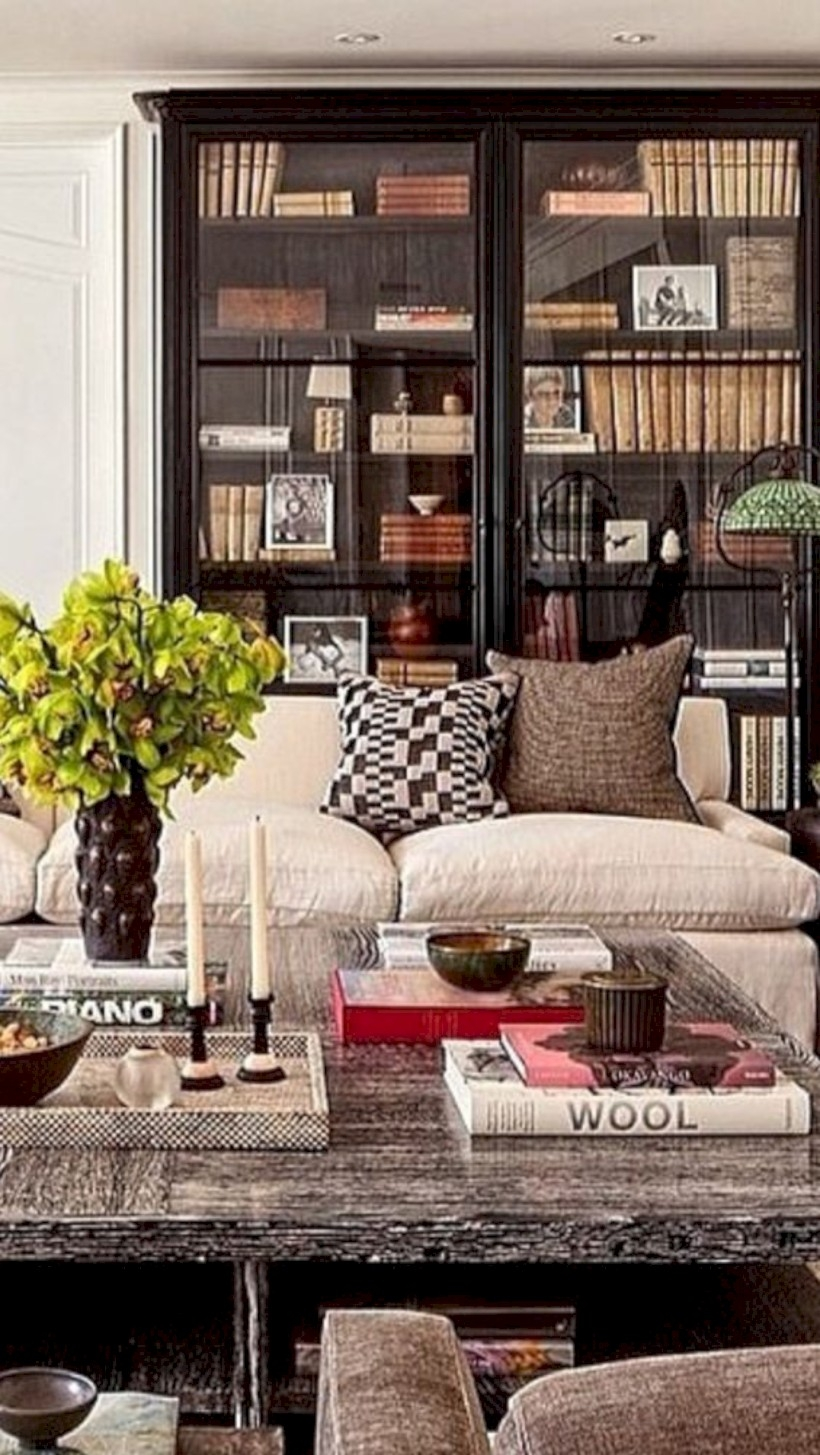 Glass front bookcase in the living room