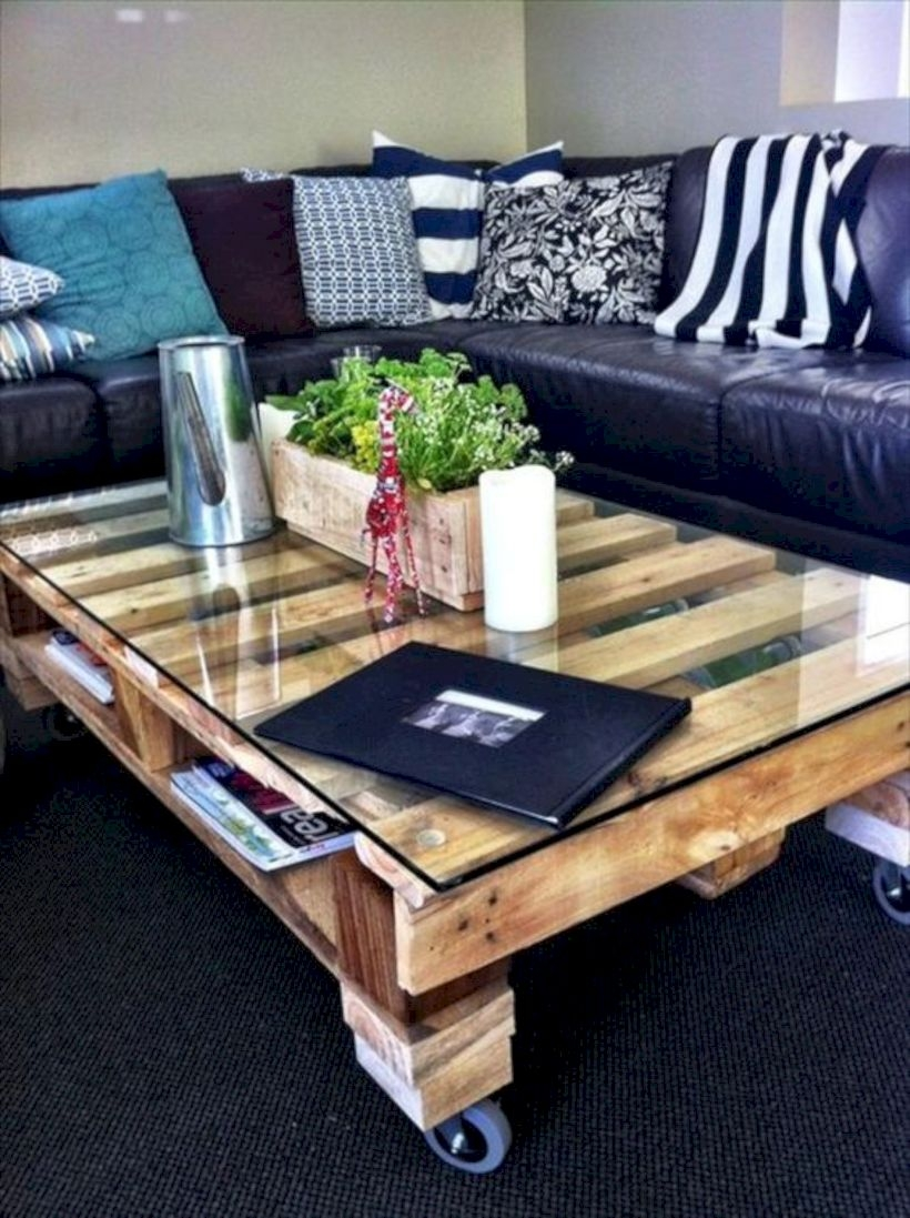 Glass topped coffee table made with pallets