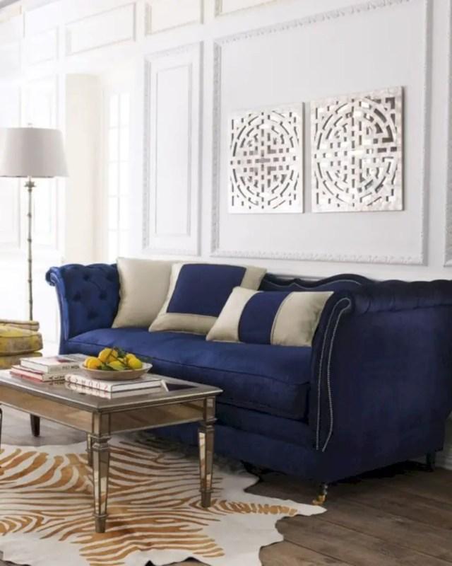 Living room with haute house horton navy velvet sofa