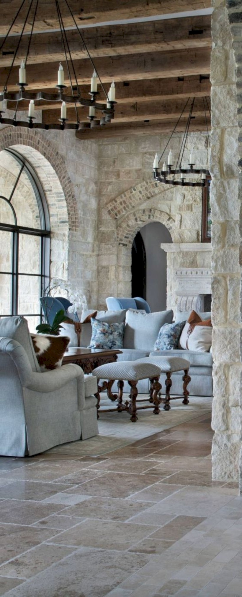 Living room with stone walls