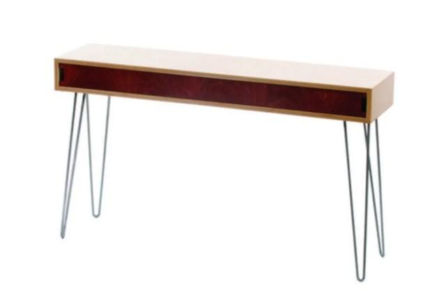 Make a diy mid-century modern sofa table