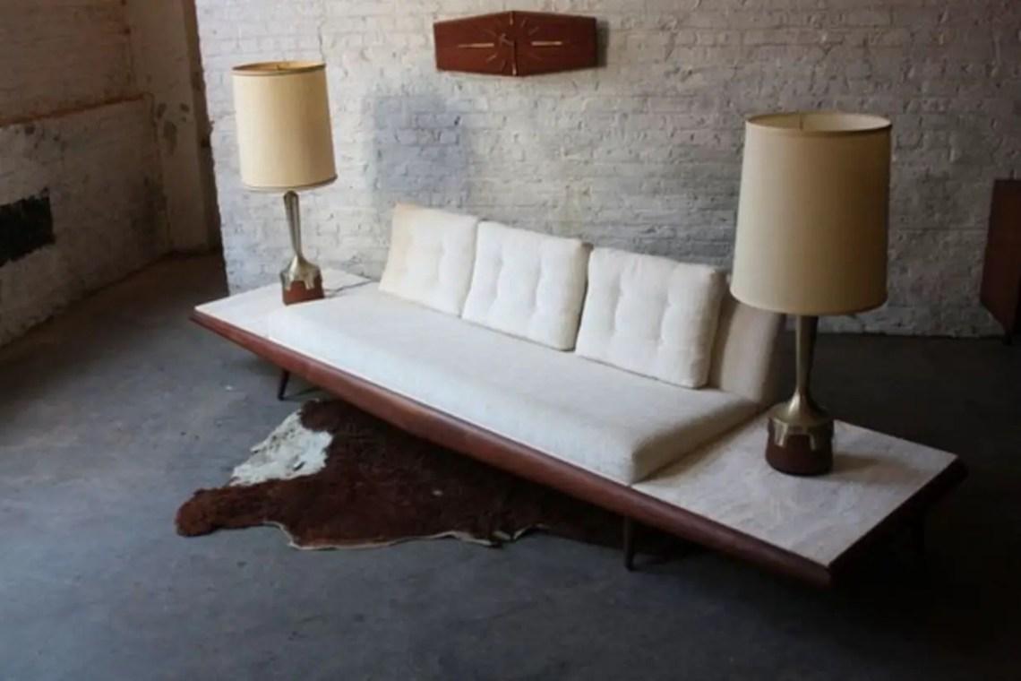 Mid century modern platform sofa meets