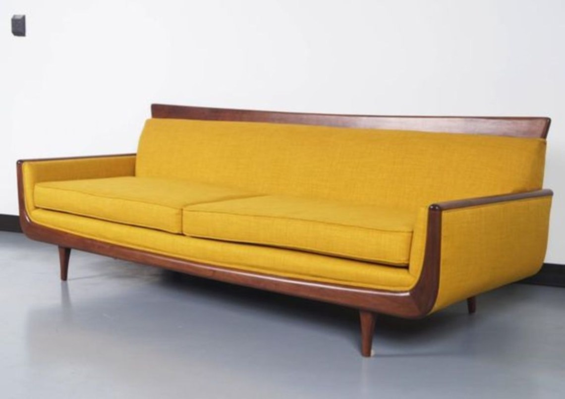 Mid-century modern walnut sofa
