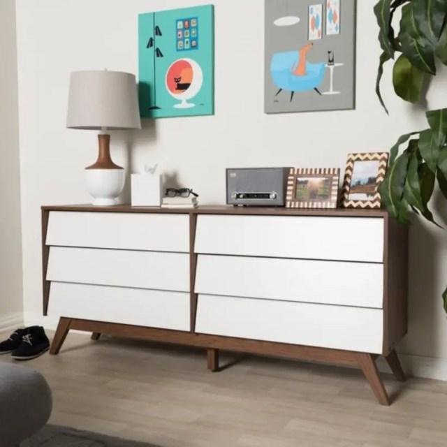 Mid-century white and dresser by baxton studio