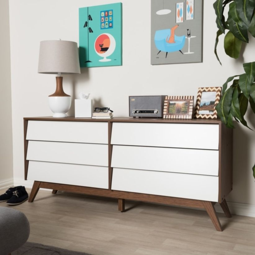 Mid-century white and dresser by baxton studio
