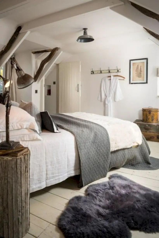 Modern rustic bedroom in the attic