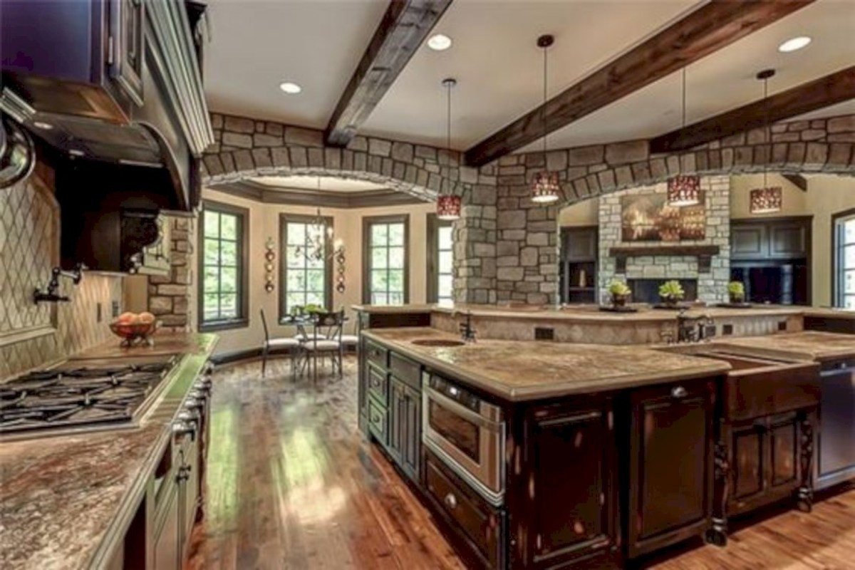 Open kitchen with stone