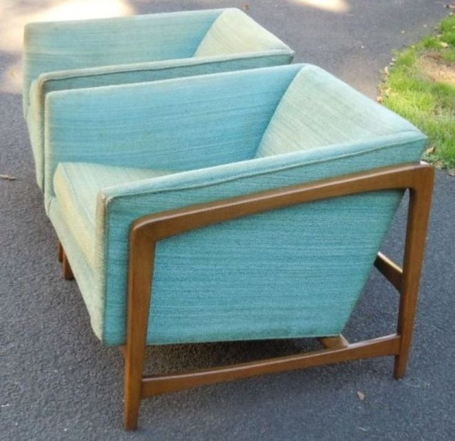 Pair of mid century modern cube lounge chairs