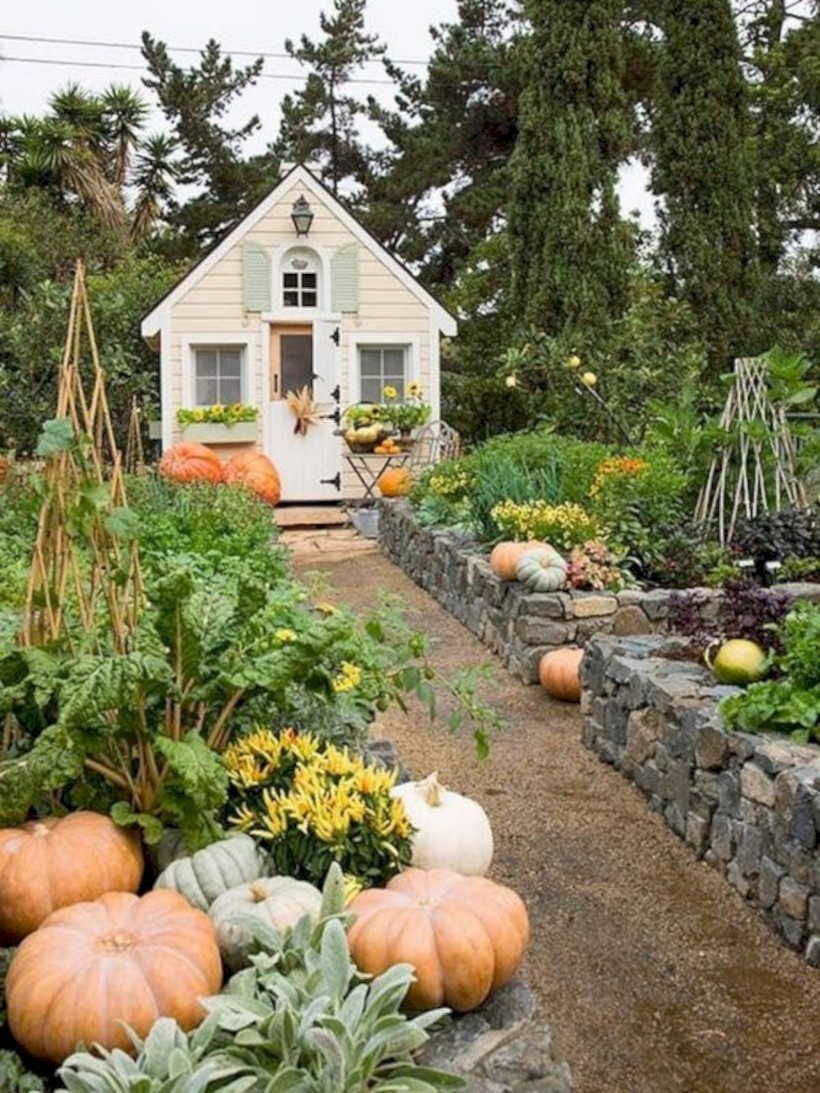 Raised garden beds in stone