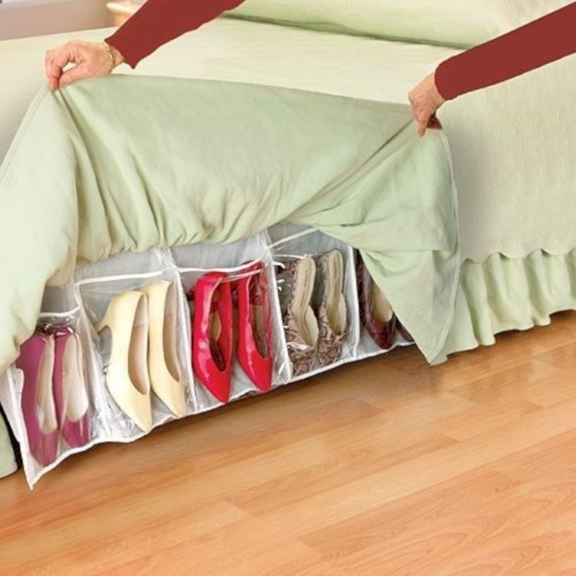 Shoes storage in bed