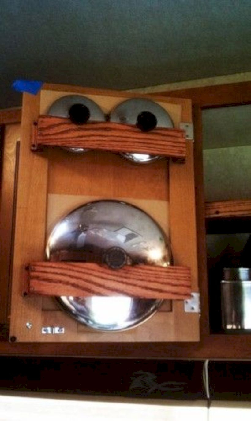 Smart rv cookware storage idea for behind cabinet doors