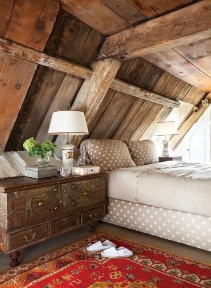 Rustic bedroom in attic