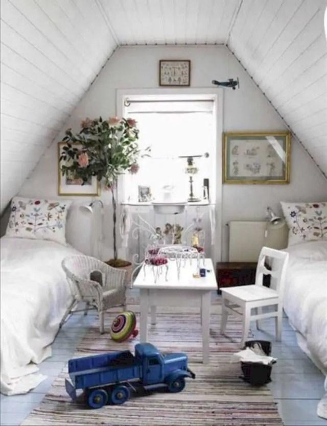 Vintage cottage attic bedroom