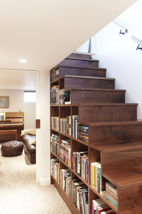 1 book storage inside the stairs