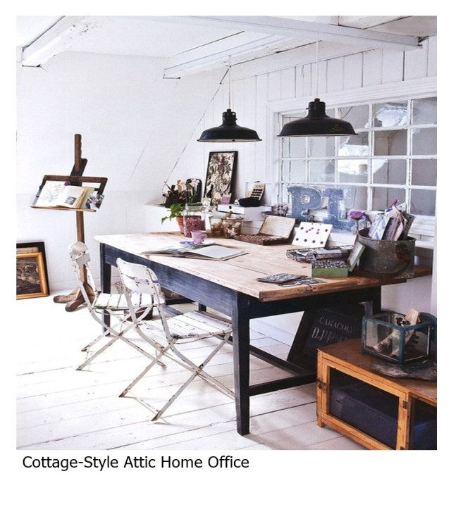 Cottage-style attic home office