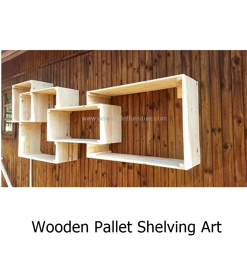 Wooden pallet shelving art 1