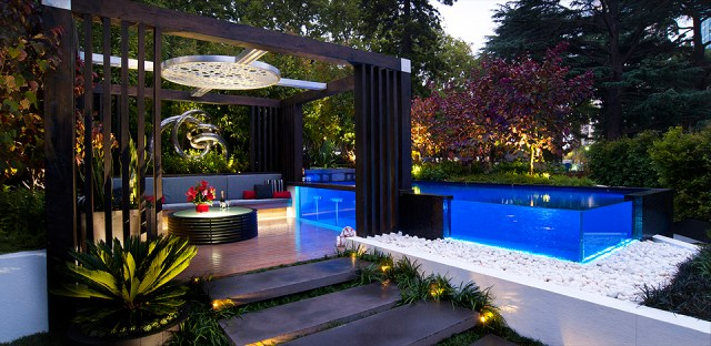 3. combination of pool with garden in backyard