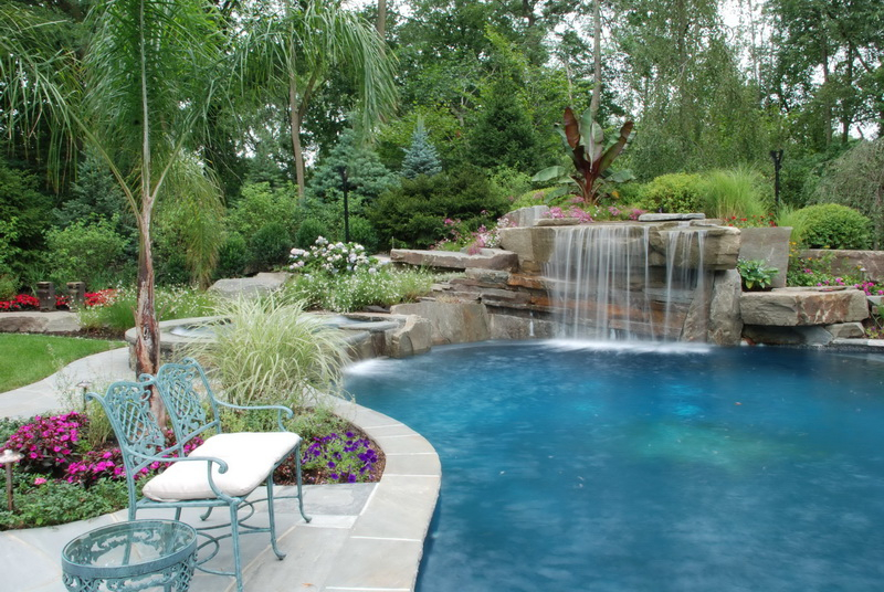 8. brick waterfall with pool