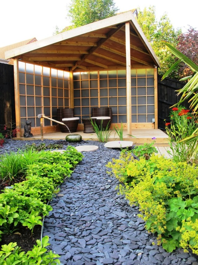 Japanese garden with minimalist pavilion