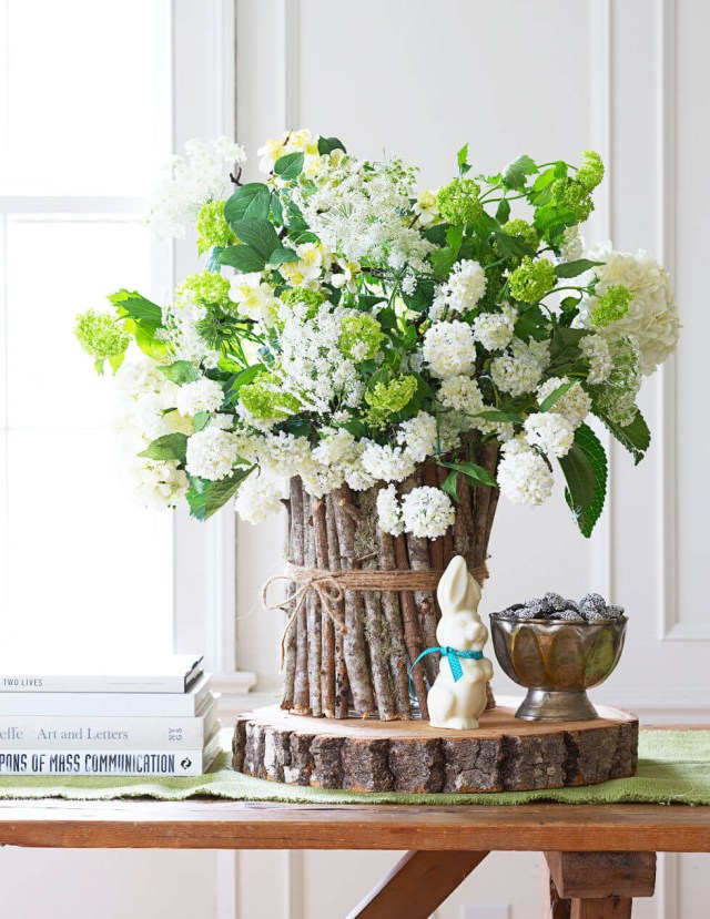 Snow white blossom log diy centerpiece for easter