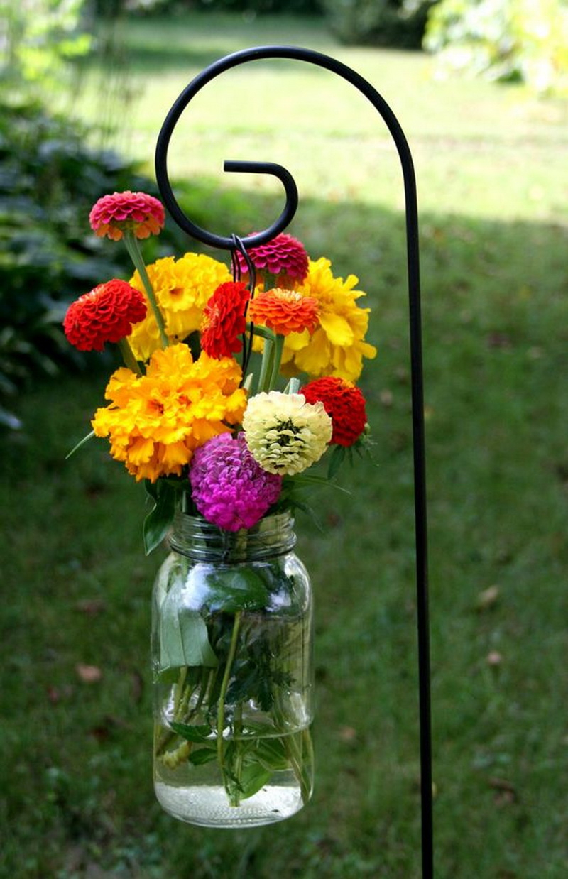 3. hanging jar filled with blooms