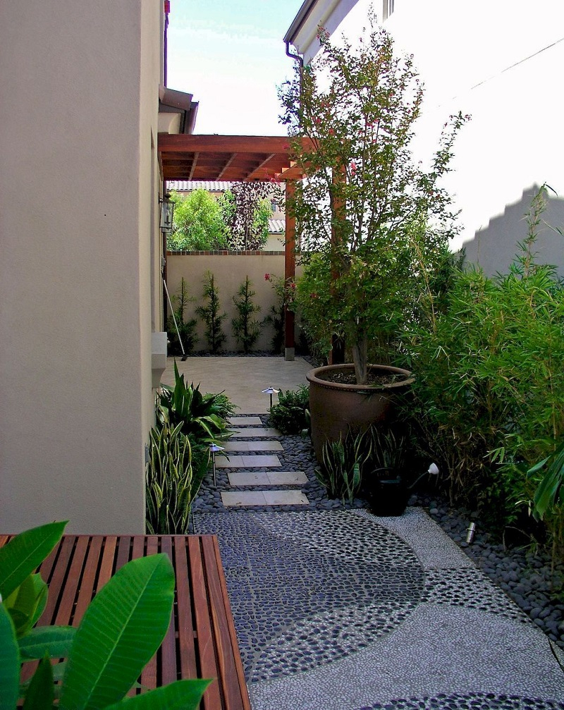Modern look side yard