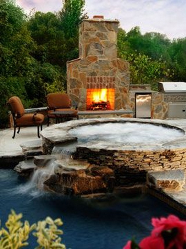 3. waterfall and fireplace