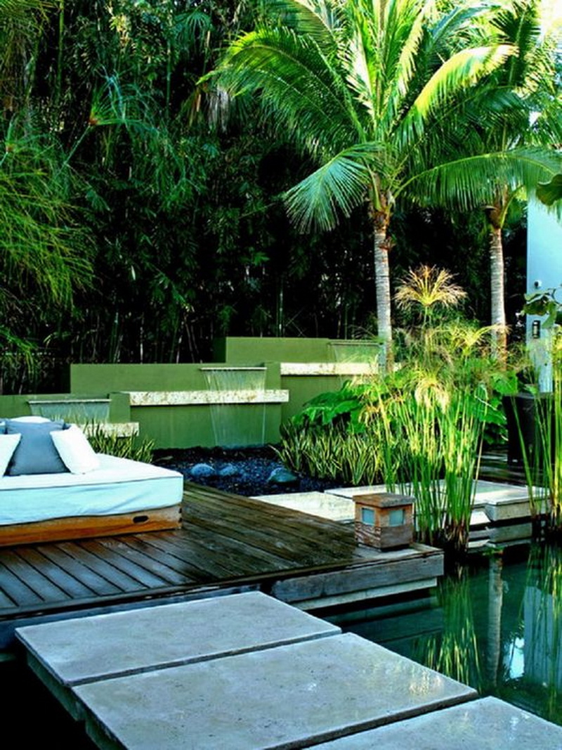 8. tropical backyard with small waterfall