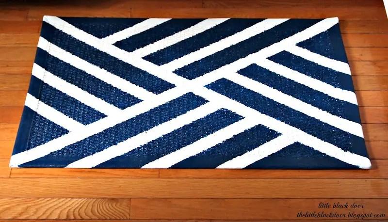 Diy navy and white kitchen rug