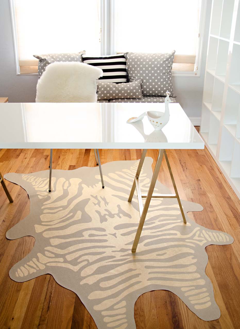 Glam diy gold zebra rug