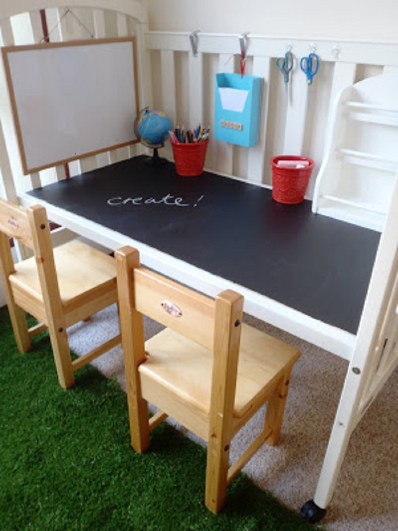 Kids' craft table from a crib