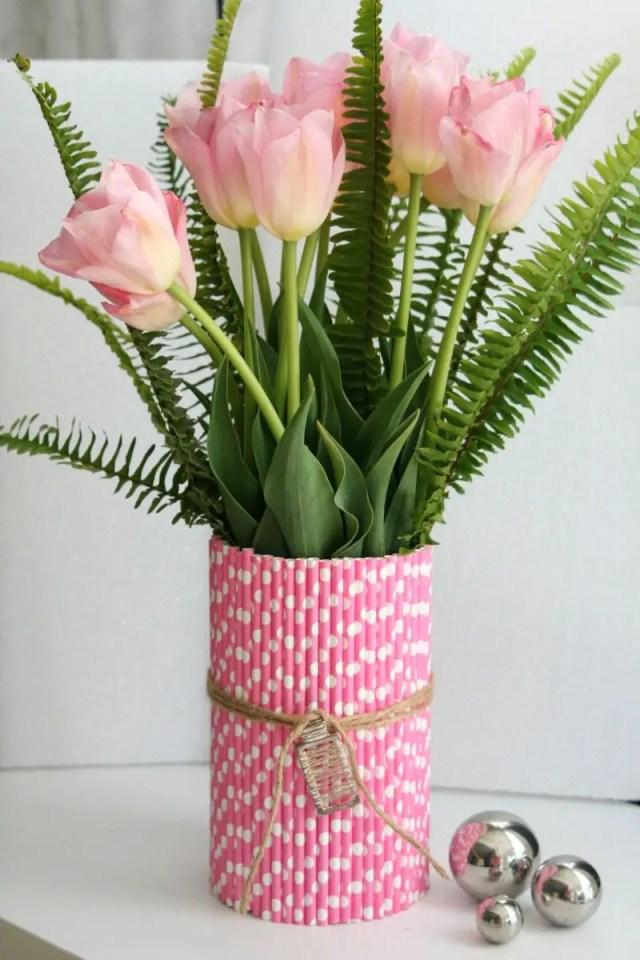 Spring-inspired straw vase