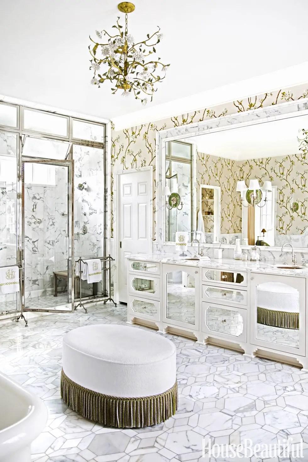Glitzy bathroom chandelier
