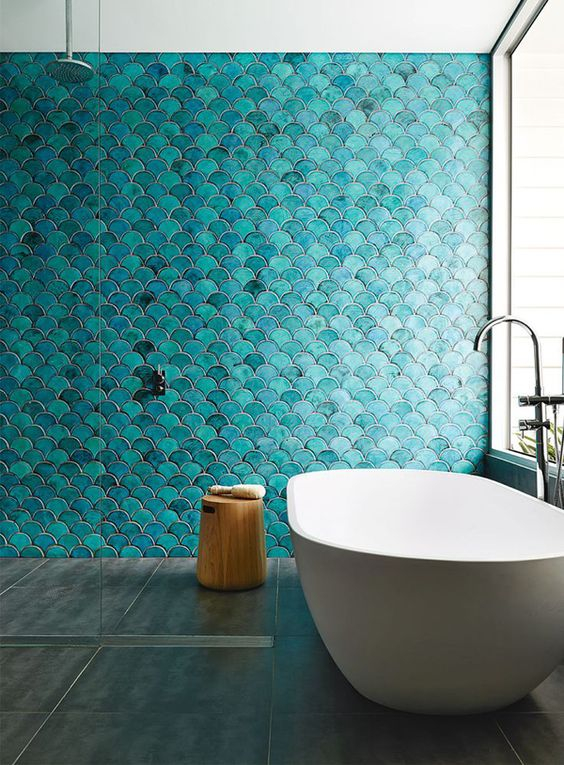 Turquoise fish scale tiles