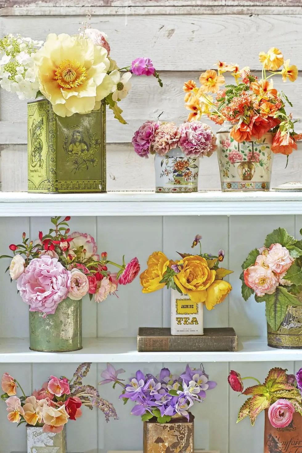 Vintage canister flower arrangements
