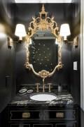 Elegant bathroom design with black walls 09