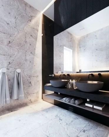Elegant bathroom design with black walls 10