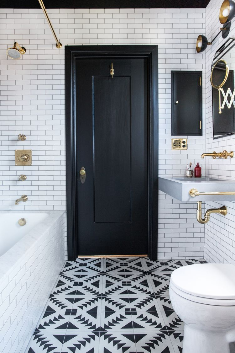 Elegant bathroom design with black walls 22