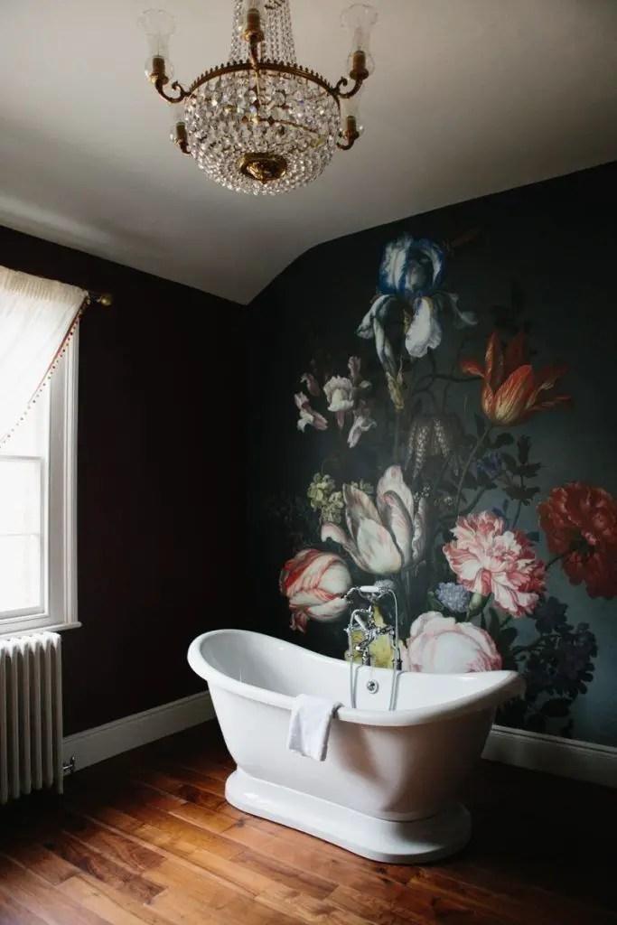 Elegant bathroom design with black walls 25