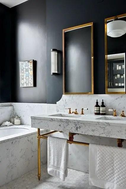Elegant bathroom design with black walls 33