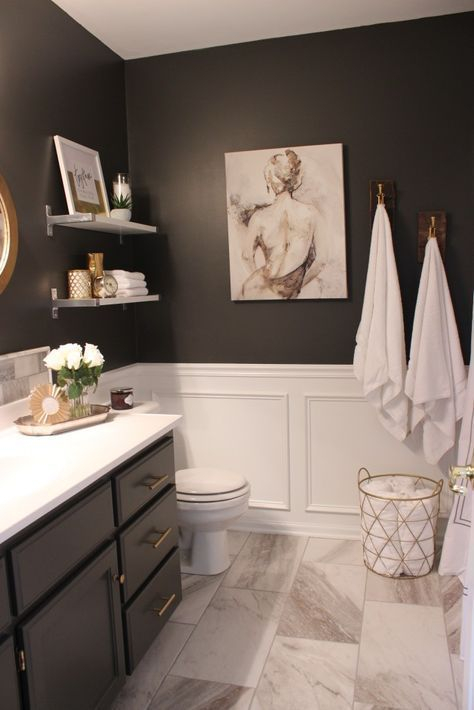 Elegant bathroom design with black walls 37