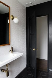 Elegant bathroom design with black walls 45