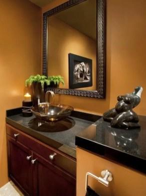 Elegant bathroom design with black walls 54