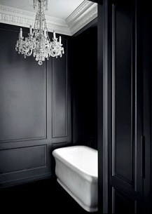 Elegant bathroom design with black walls 57