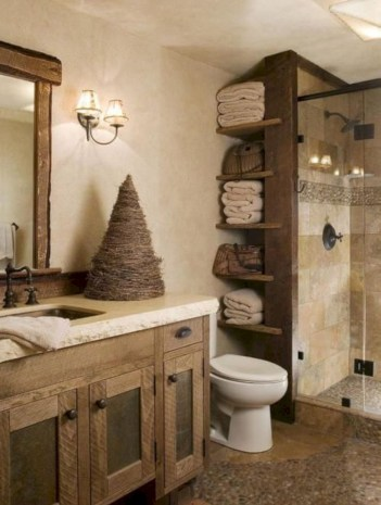 Rustic farmhouse bathroom ideas with shower 10