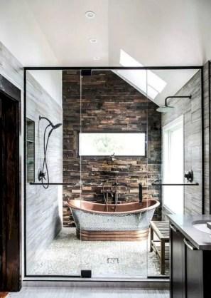 Rustic farmhouse bathroom ideas with shower 119