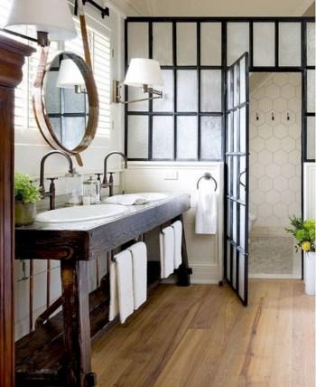 Rustic farmhouse bathroom ideas with shower 18