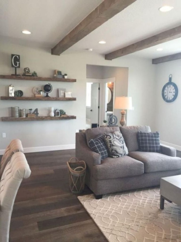 Rustic modern farmhouse living room decor ideas 06